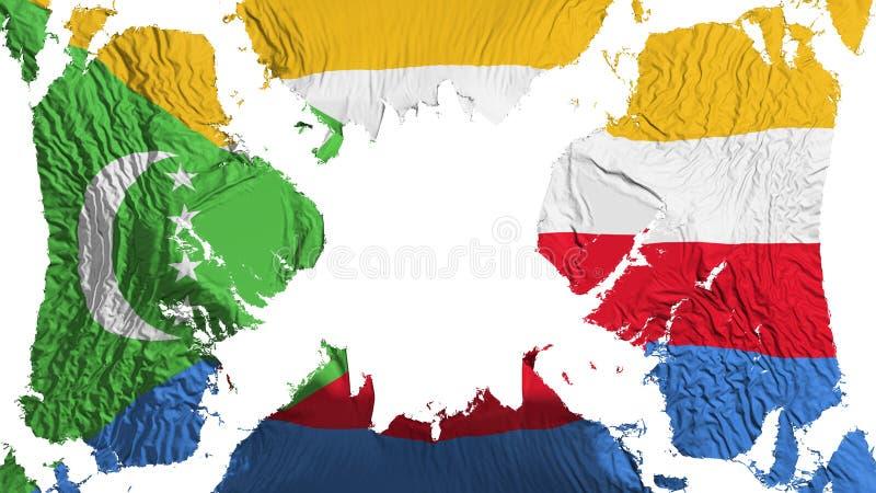 Σχισμένη οι Κομόρες σημαία που κυματίζει στον αέρα ελεύθερη απεικόνιση δικαιώματος
