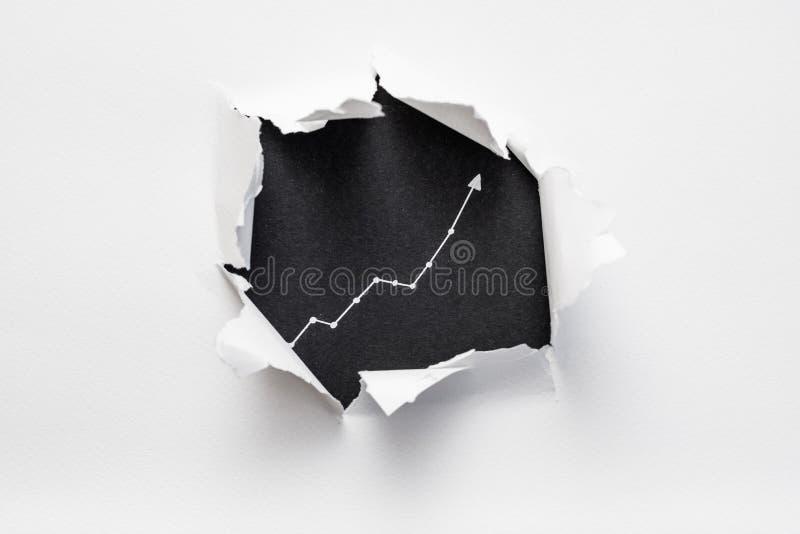 Σχισμένη πρόοδος αύξησης γραφικών παραστάσεων βάσεων εγγράφου μαύρη στοκ φωτογραφία