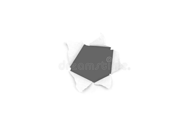 Σχισμένη τρύπα και σχισμένος του εγγράφου με το γκρίζο υπόβαθρο Σχισμένη σύσταση εγγράφου με τη διαστημική περιοχή αντιγράφων για στοκ εικόνες