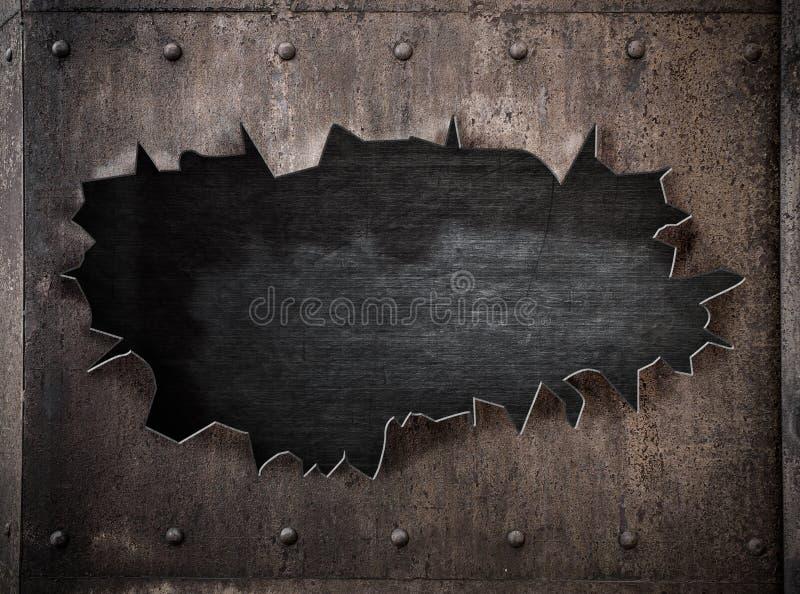 Σχισμένη τρύπα στο σκουριασμένο πανκ υπόβαθρο ατμού μετάλλων στοκ φωτογραφίες με δικαίωμα ελεύθερης χρήσης