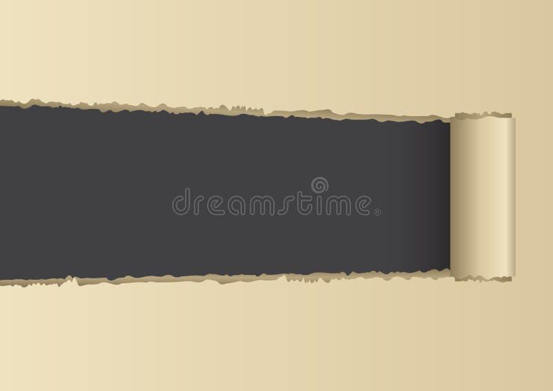 Σχισμένος ανοιγμένος καφετής εγγράφου που σχίζεται επάνω ελεύθερη απεικόνιση δικαιώματος