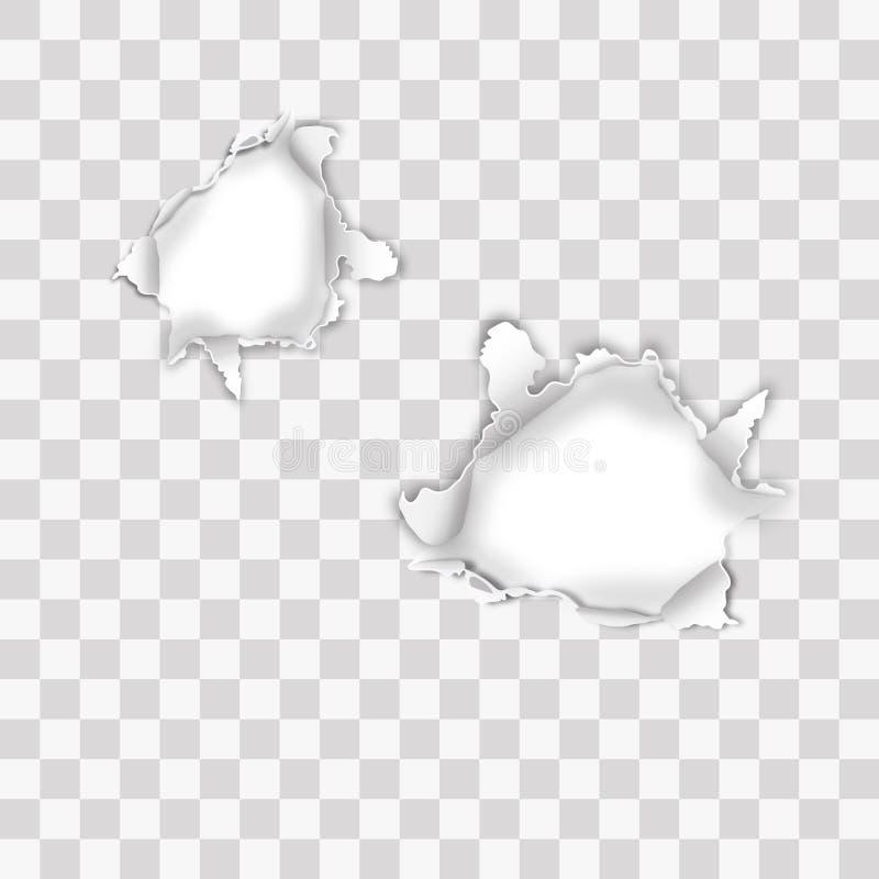 Σχισμένο το υπεριώδης ακτίνα έγγραφο με τις σχισμένες άκρες και επάνω οι πλευρές, γύρω από διαμορφωμένη τρύπα απομονώνω στο διαφα απεικόνιση αποθεμάτων