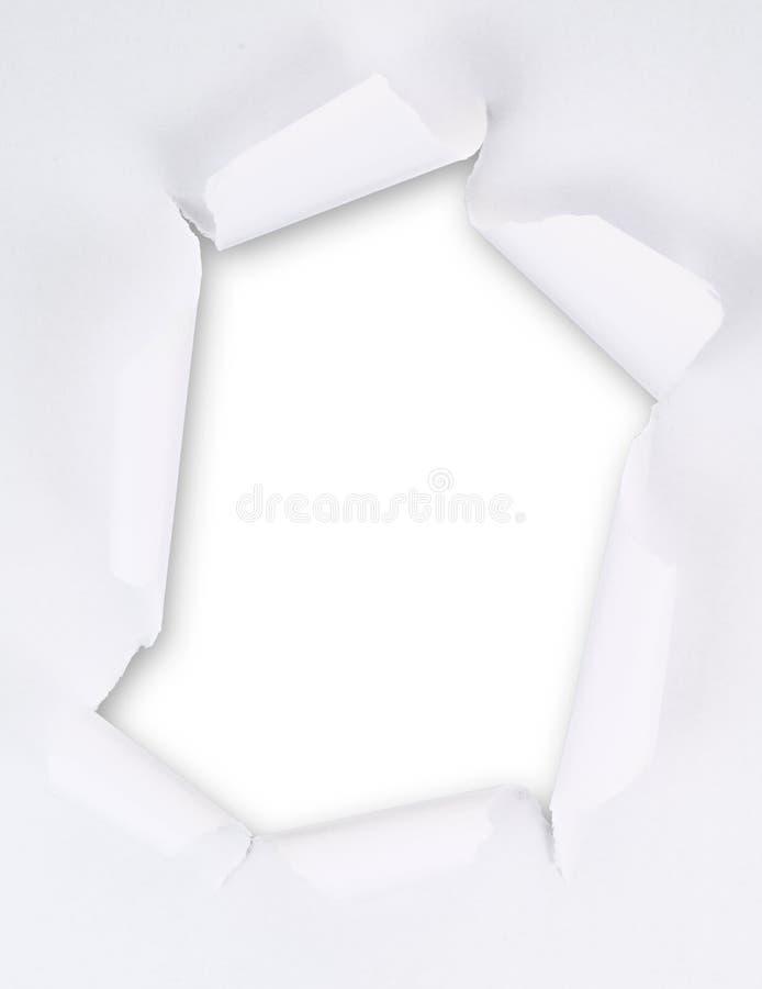 Σχισμένο φύλλο εγγράφου με μια κενή τρύπα χάσματος στοκ εικόνες με δικαίωμα ελεύθερης χρήσης