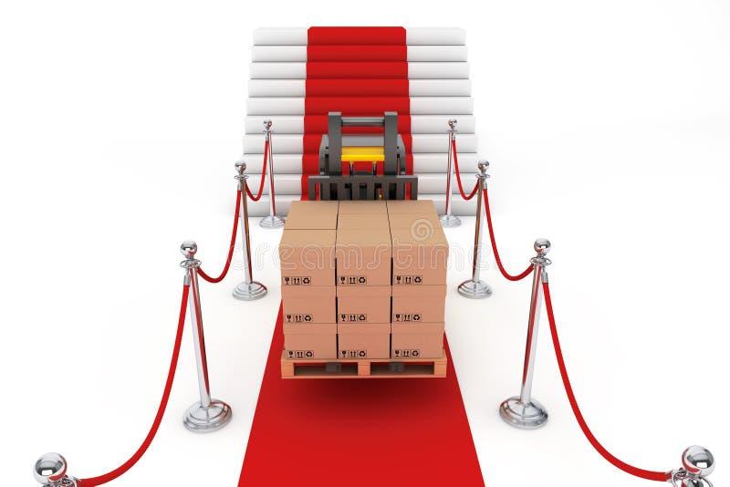 Σχοινί κόκκινου χαλιού και εμποδίων με Forklift και τα κιβώτια στοκ εικόνα με δικαίωμα ελεύθερης χρήσης