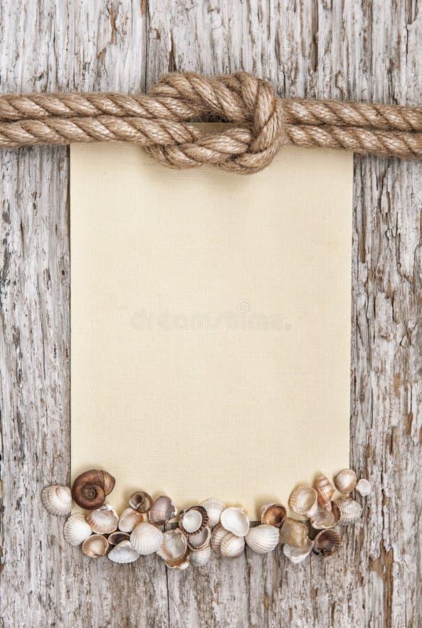 Σχοινί σκαφών, καμβάς, κοχύλια θάλασσας και ξύλινο υπόβαθρο στοκ εικόνες με δικαίωμα ελεύθερης χρήσης
