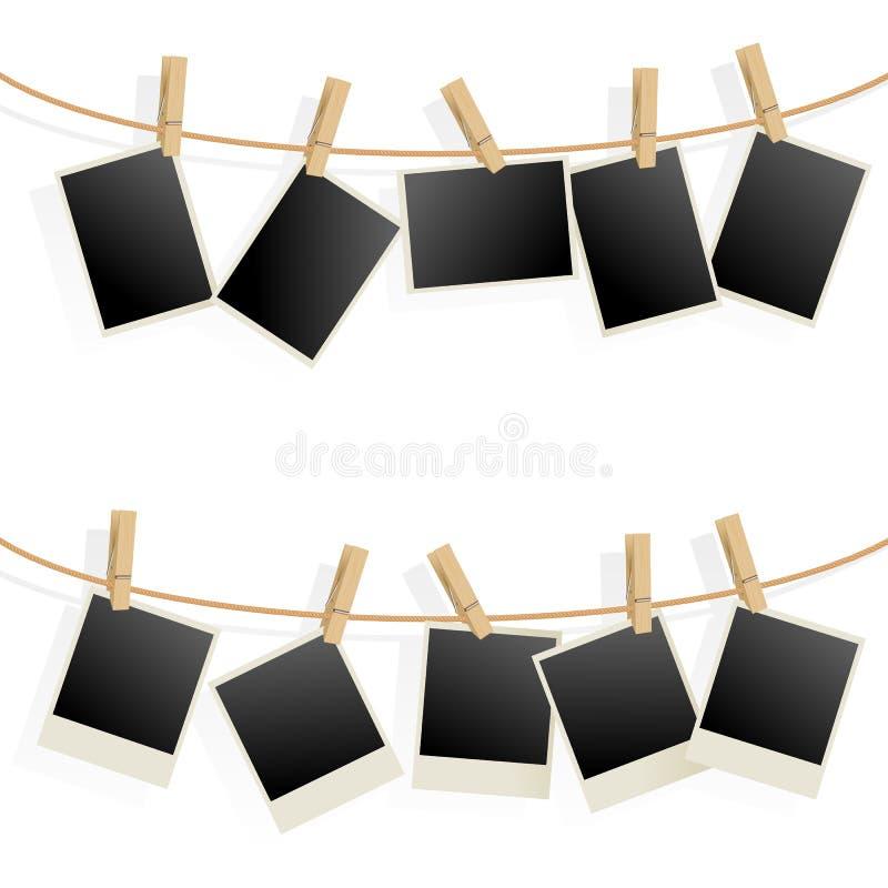 σχοινί φωτογραφιών πλαισίων διανυσματική απεικόνιση