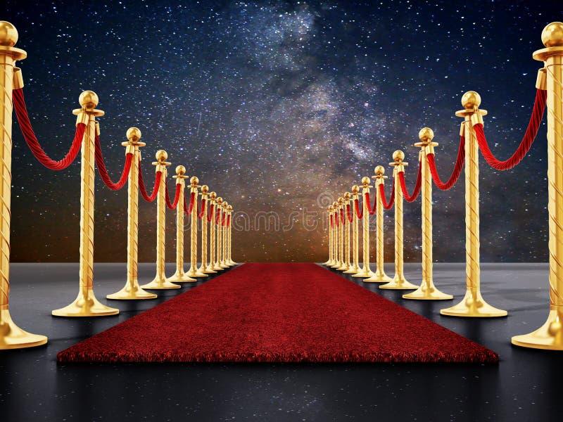Σχοινιά βελούδου και χρυσά εμπόδια κατά μήκος του κόκκινου χαλιού τρισδιάστατη απεικόνιση ελεύθερη απεικόνιση δικαιώματος