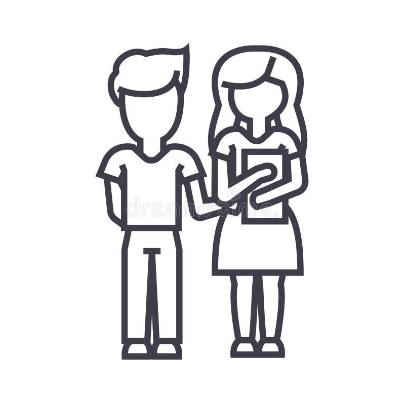 Σχολείο, αγόρι και κορίτσι παιδιών με το διανυσματικό εικονίδιο γραμμών βιβλίων, σημάδι, απεικόνιση στο υπόβαθρο, editable κτυπήμ διανυσματική απεικόνιση