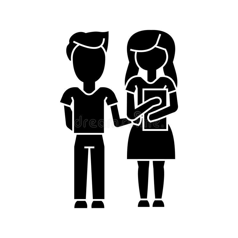 Σχολείο, αγόρι και κορίτσι παιδιών με το εικονίδιο βιβλίων, διανυσματική απεικόνιση, σημάδι στο απομονωμένο υπόβαθρο ελεύθερη απεικόνιση δικαιώματος