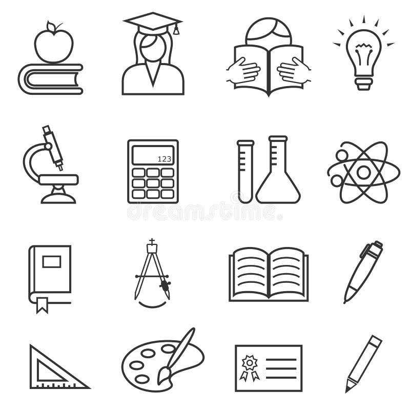 Σχολείο και σύνολο εικονιδίων εκπαίδευσης στοκ εικόνες με δικαίωμα ελεύθερης χρήσης