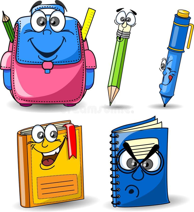 σχολείο μολυβιών κινούμενων σχεδίων βιβλίων τσαντών απεικόνιση αποθεμάτων