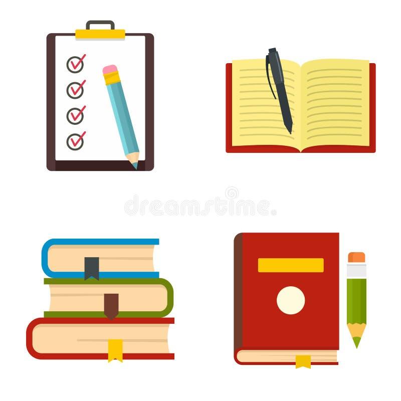 Σχολικά εικονίδια μελέτης εργασίας καθορισμένα, επίπεδο ύφος απεικόνιση αποθεμάτων