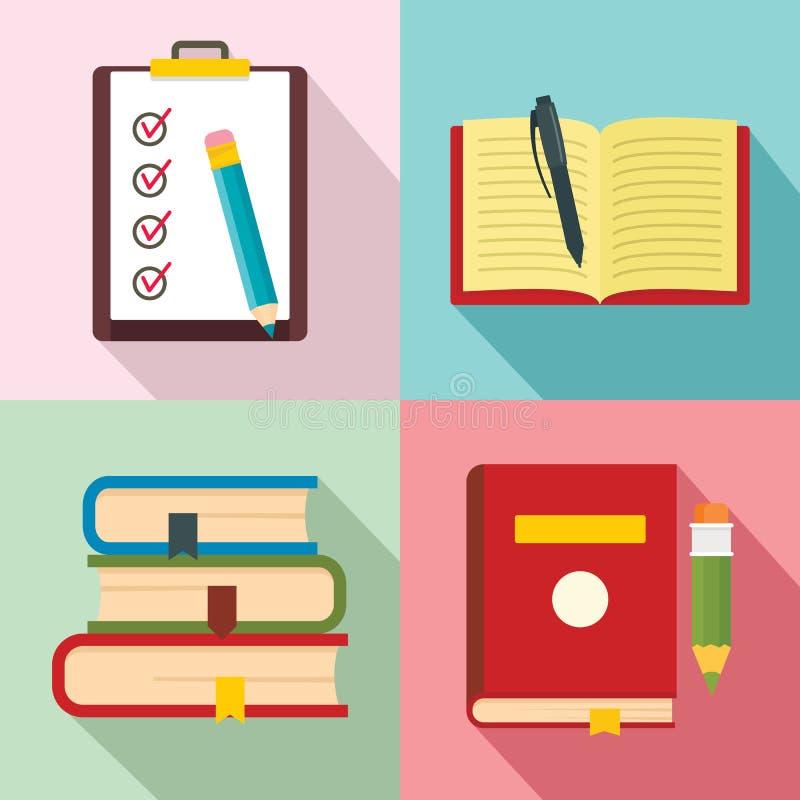 Σχολικά εικονίδια μελέτης εργασίας καθορισμένα, επίπεδο ύφος διανυσματική απεικόνιση