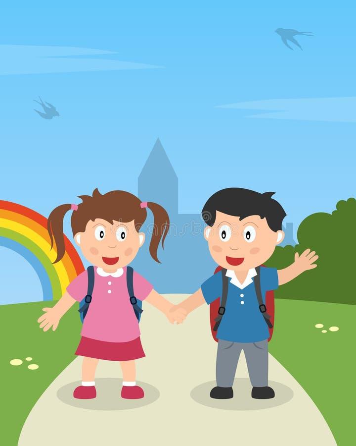 Σχολικά κατσίκια που περπατούν στο πάρκο διανυσματική απεικόνιση