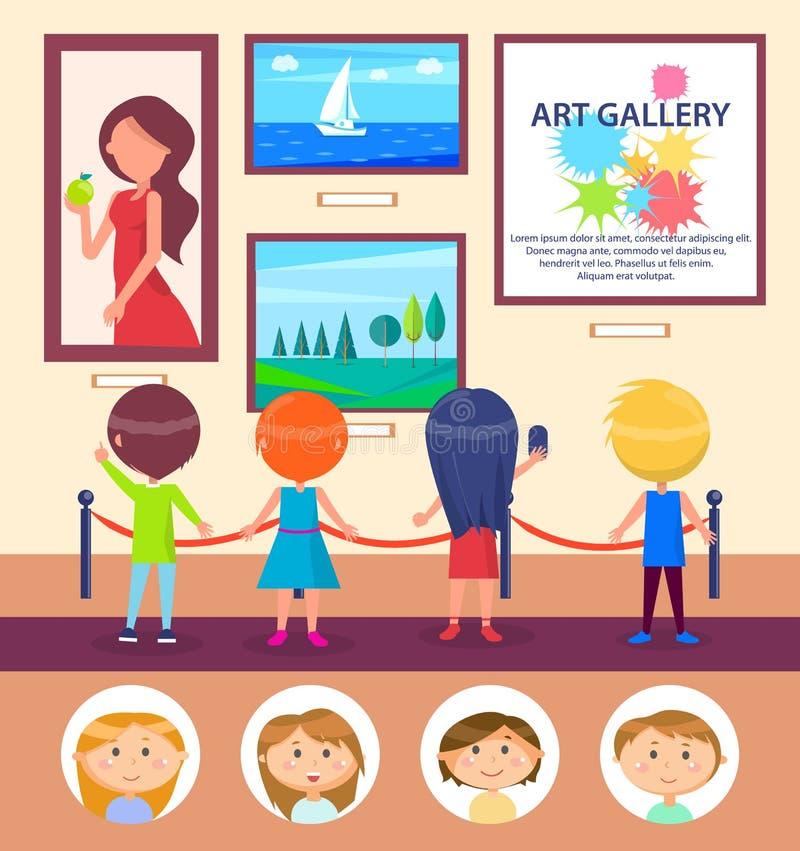 Σχολικά παιδιά στο γκαλερί τέχνης, έκθεση εικόνων απεικόνιση αποθεμάτων
