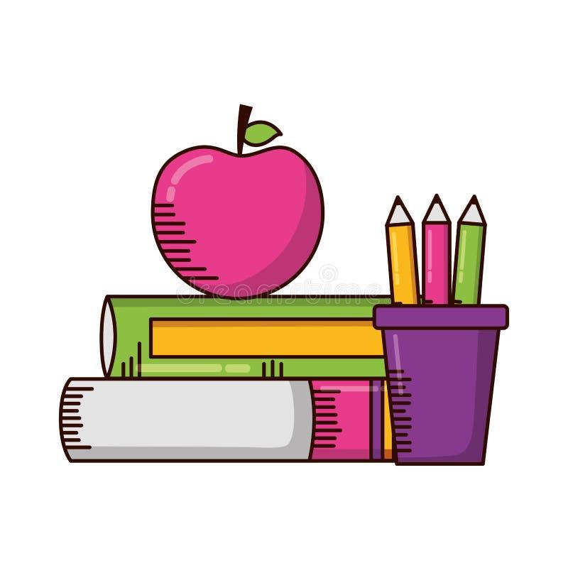 Σχολικές προμήθειες μολυβιών μήλων βιβλίων διανυσματική απεικόνιση
