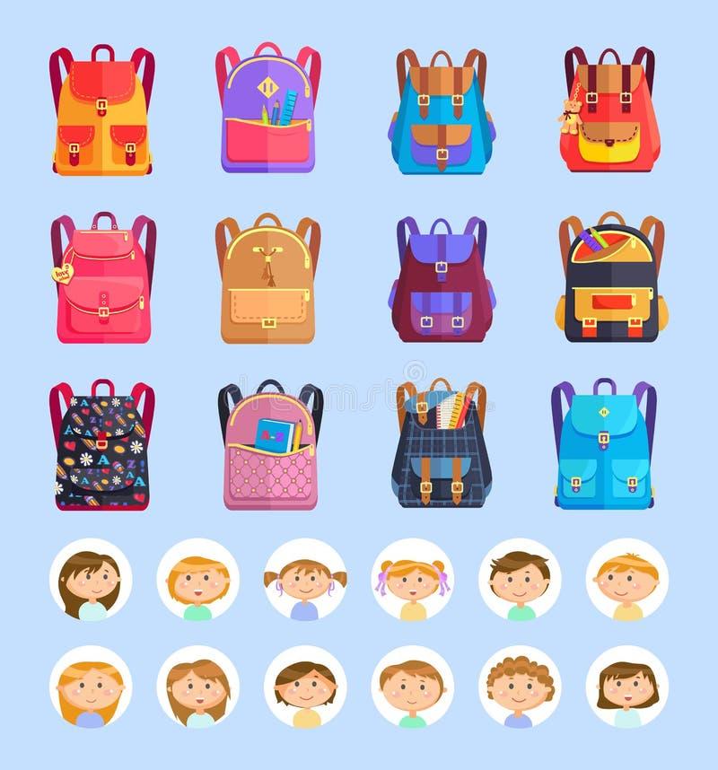 Σχολικές τσάντες ή σακίδια πλάτης, χαρτικά και μαθητές ελεύθερη απεικόνιση δικαιώματος