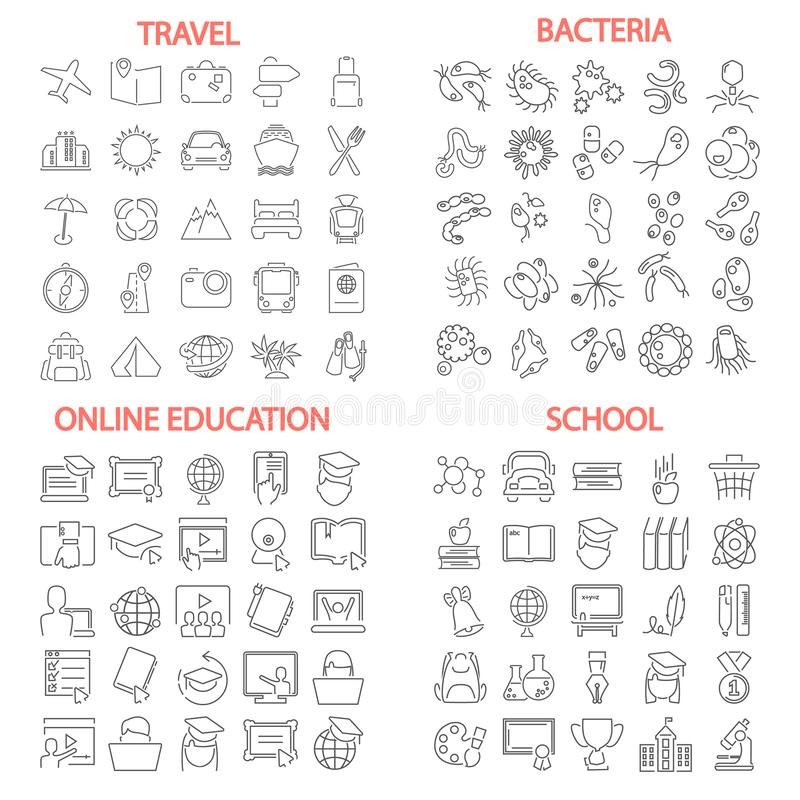 Σχολική εκπαίδευση Βακτηρίδια και ιοί Ταξίδι και διακοπές Σε απευθείας σύνδεση εικονίδια γραμμών εκπαίδευσης καθορισμένα απεικόνιση αποθεμάτων