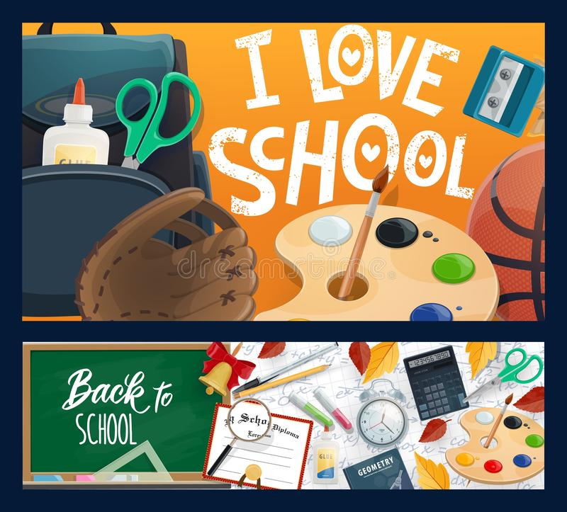 Σχολικοί πίνακας κιμωλίας, σακίδιο πλάτης, βιβλίο και μολύβι απεικόνιση αποθεμάτων