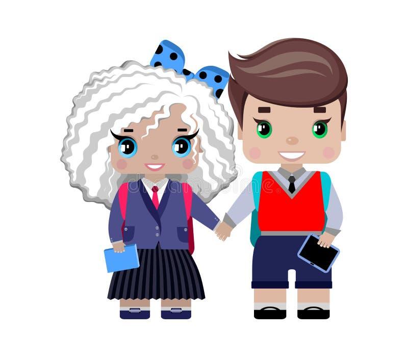 Σχολικοί σπουδαστές κοριτσιών και αγοριών στη σχολική στολή απεικόνιση αποθεμάτων