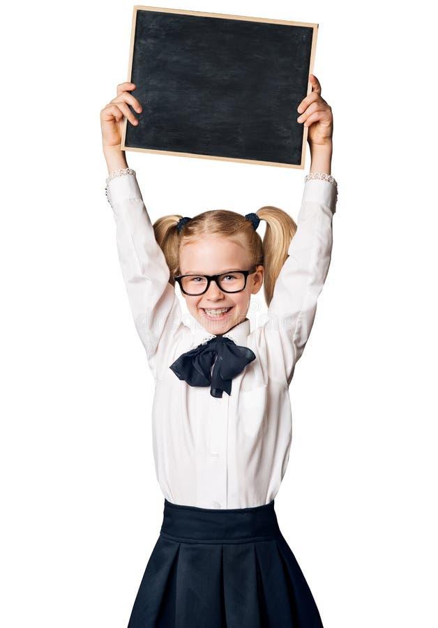 Σχολικός πίνακας διαφήμισης κοριτσιών παιδιών, παιδί στα γυαλιά στο λευκό στοκ εικόνα