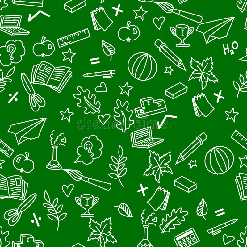 Σχολικό άνευ ραφής σχέδιο στο πράσινο υπόβαθρο και τα άσπρα doodles απεικόνιση αποθεμάτων
