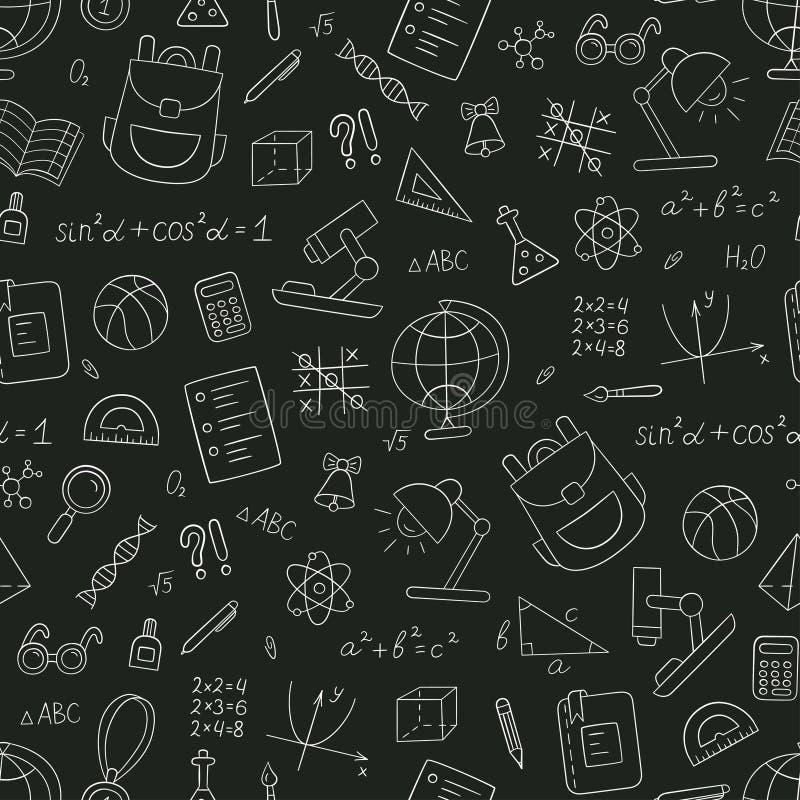Σχολικό άνευ ραφής σχέδιο στο doodle και το ύφος κινούμενων σχεδίων chalkboard ελεύθερη απεικόνιση δικαιώματος