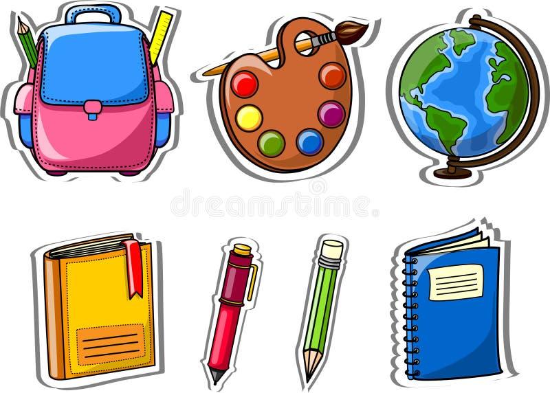 σχολικό διάνυσμα εικονιδίων κινούμενων σχεδίων ελεύθερη απεικόνιση δικαιώματος