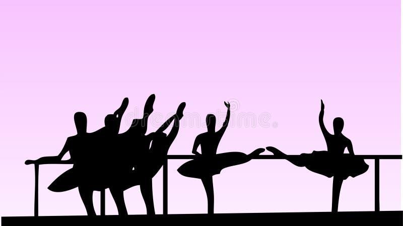 σχολικό διάνυσμα κοριτσιών μπαλέτου ελεύθερη απεικόνιση δικαιώματος