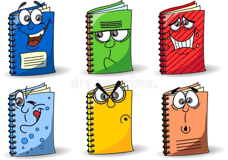 σχολικό διάνυσμα σημειωματάριων κινούμενων σχεδίων διανυσματική απεικόνιση
