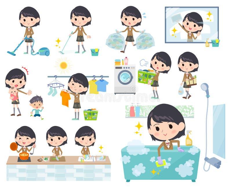 Σχολικό κορίτσι καφετί Blazer_Housekeeping απεικόνιση αποθεμάτων