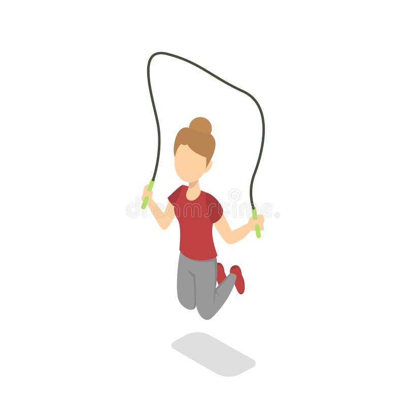 Σχολικό κορίτσι που πηδά με το πηδώντας σχοινί ελεύθερη απεικόνιση δικαιώματος