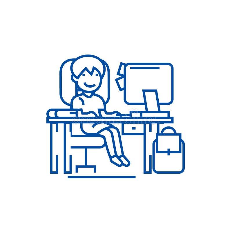 Σχολικό κορίτσι στον πίνακα με τον υπολογιστή, έννοια εικονιδίων γραμμών Σχολικό κορίτσι στον πίνακα με τον υπολογιστή, επίπεδο δ ελεύθερη απεικόνιση δικαιώματος