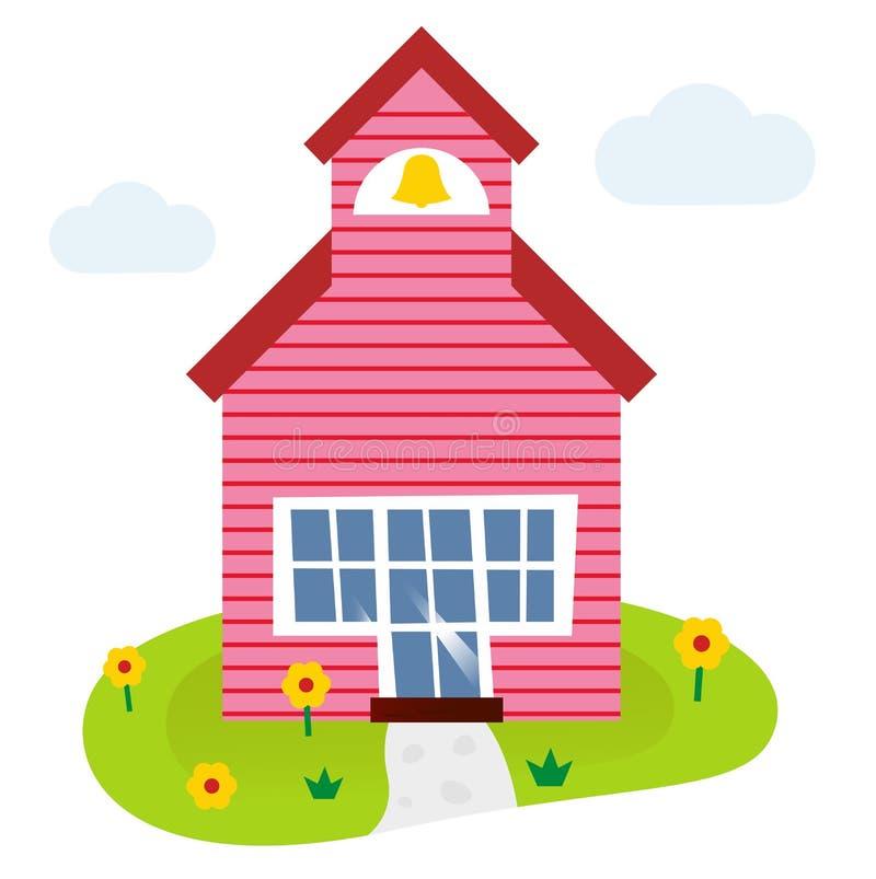 Σχολικό κτίριο κινούμενων σχεδίων απεικόνιση αποθεμάτων