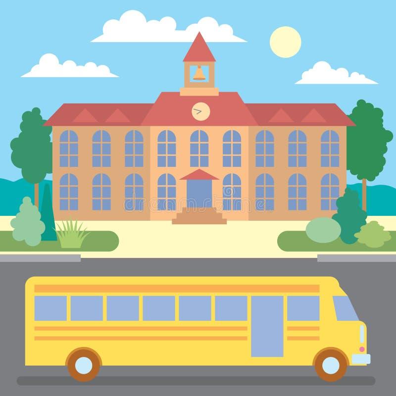 Σχολικό λεωφορείο κοντά στο σχολείο στοκ φωτογραφία