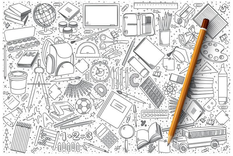 Σχολικό doodle διανυσματικό σύνολο στοκ εικόνες με δικαίωμα ελεύθερης χρήσης