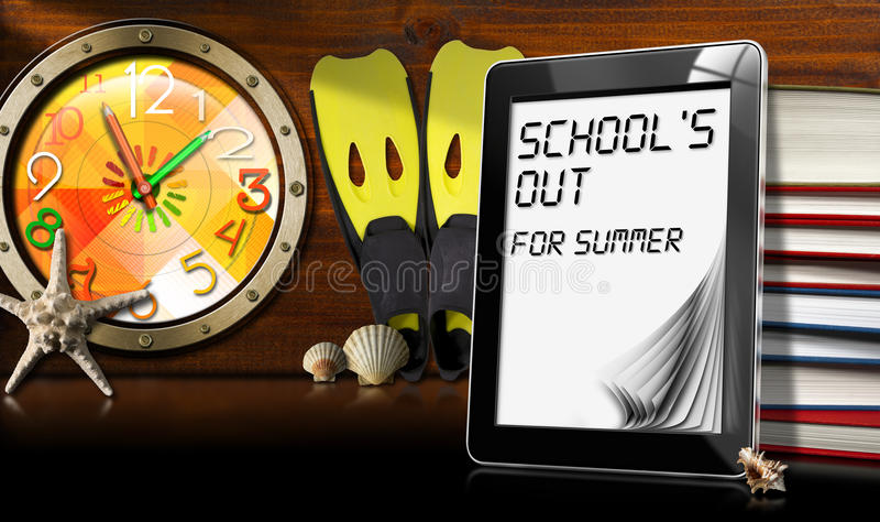 Σχολείου έξω για το καλοκαίρι - υπολογιστής ταμπλετών απεικόνιση αποθεμάτων