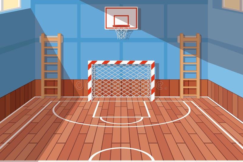 Σχολείο ή πανεπιστημιακή αίθουσα γυμναστικής ελεύθερη απεικόνιση δικαιώματος