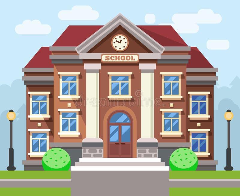 Σχολείο ή πανεπιστημιακό κτήριο Διανυσματική επίπεδη έννοια εκπαίδευσης διανυσματική απεικόνιση