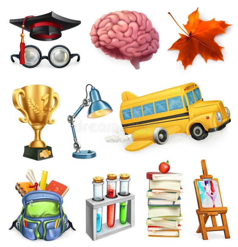Σχολείο και εκπαίδευση, διανυσματικό σύνολο εικονιδίων διανυσματική απεικόνιση