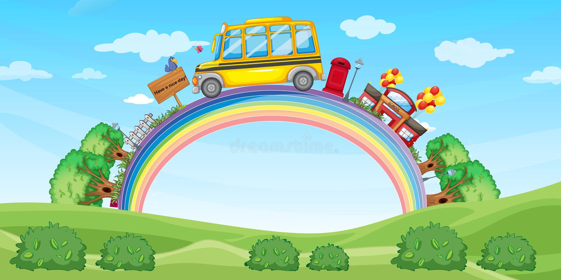 Σχολείο και σχολικό λεωφορείο στο ουράνιο τόξο απεικόνιση αποθεμάτων