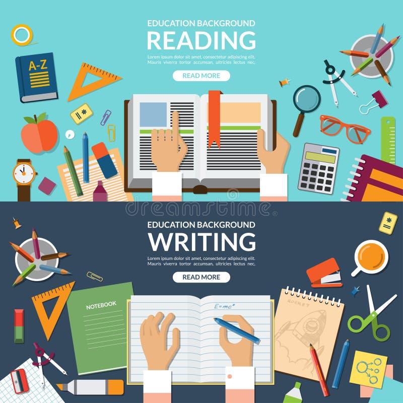 Σχολείο και σύνολο εμβλημάτων έννοιας εκπαίδευσης, ανάγνωσης και γραψίματος Επίπεδο υπόβαθρο απεικόνισης σχεδίου διανυσματικό απεικόνιση αποθεμάτων