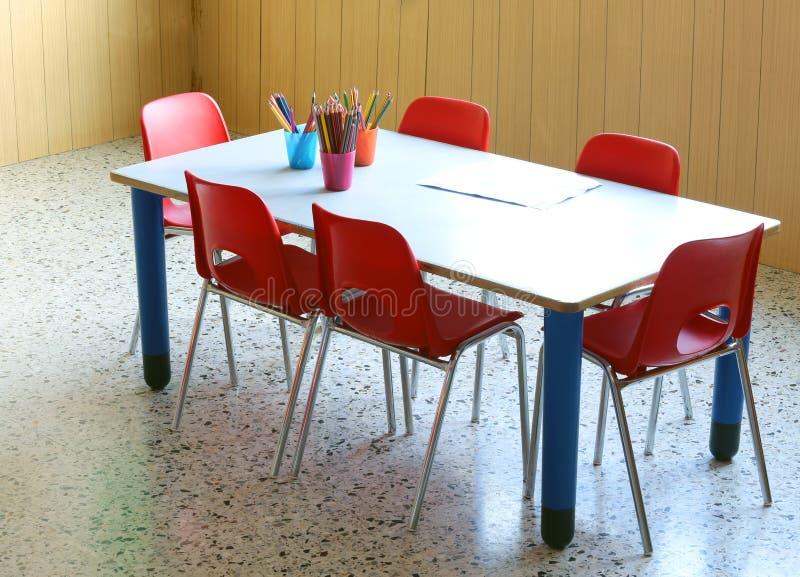 Σχολείο παιδικών σταθμών με τα μολύβια και τις μικρές κόκκινες καρέκλες στοκ φωτογραφίες