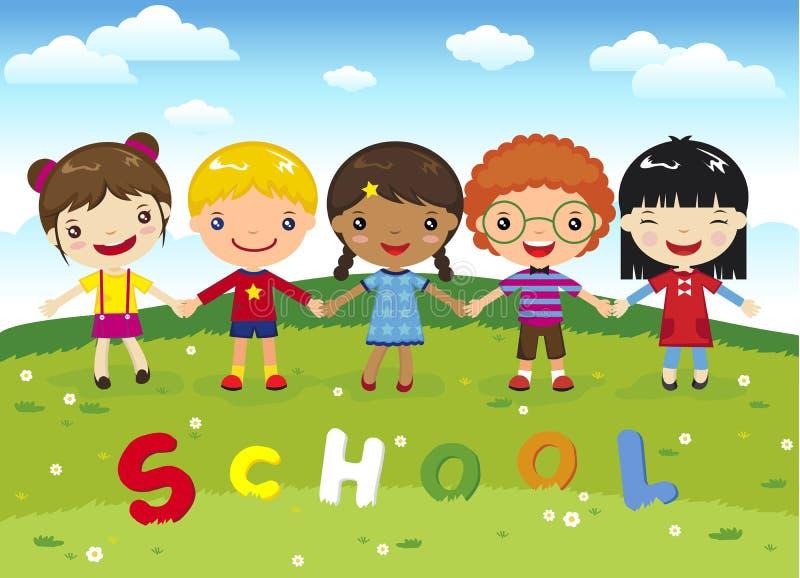 Σχολείο παιδιών κινούμενων σχεδίων στη χλόη απεικόνιση αποθεμάτων