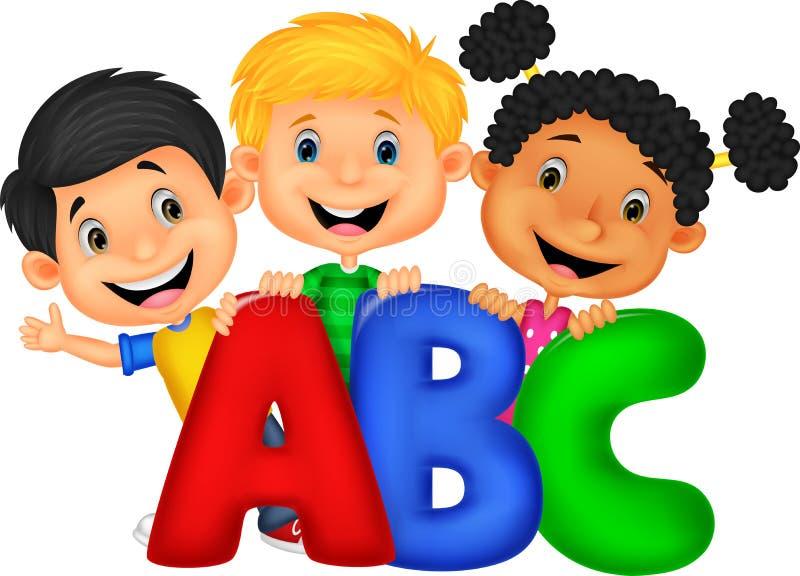 Σχολικά παιδιά με ABC διανυσματική απεικόνιση