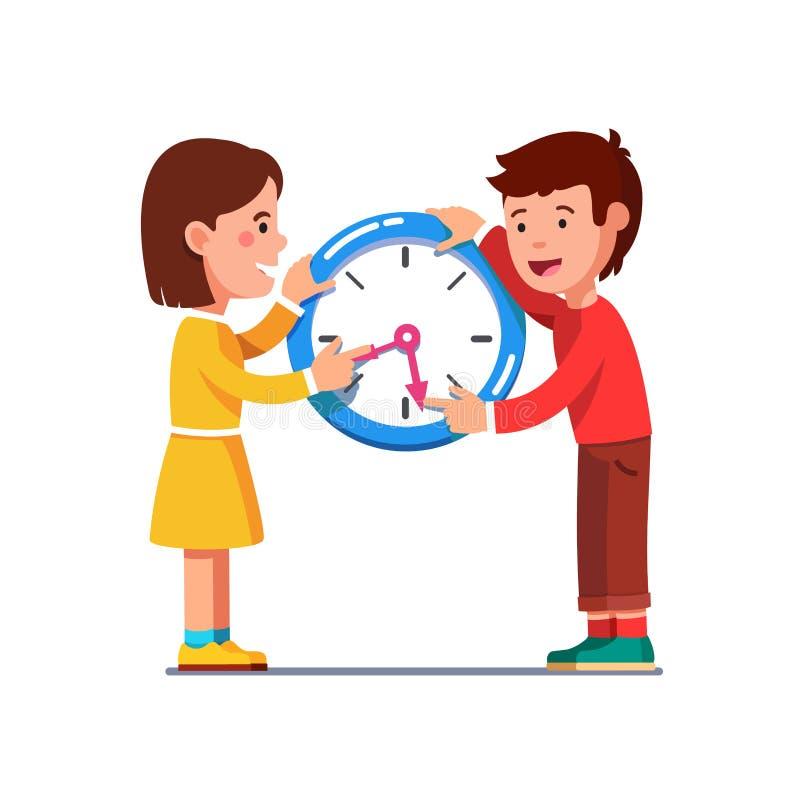 Σχολικά παιδιά που κινούν τα χέρια ρολογιών που διαβάζουν το χρόνο απεικόνιση αποθεμάτων