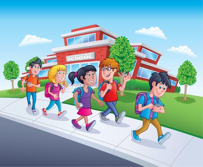 Σχολικά παιδιά που περπατούν από το σχολείο απεικόνιση αποθεμάτων