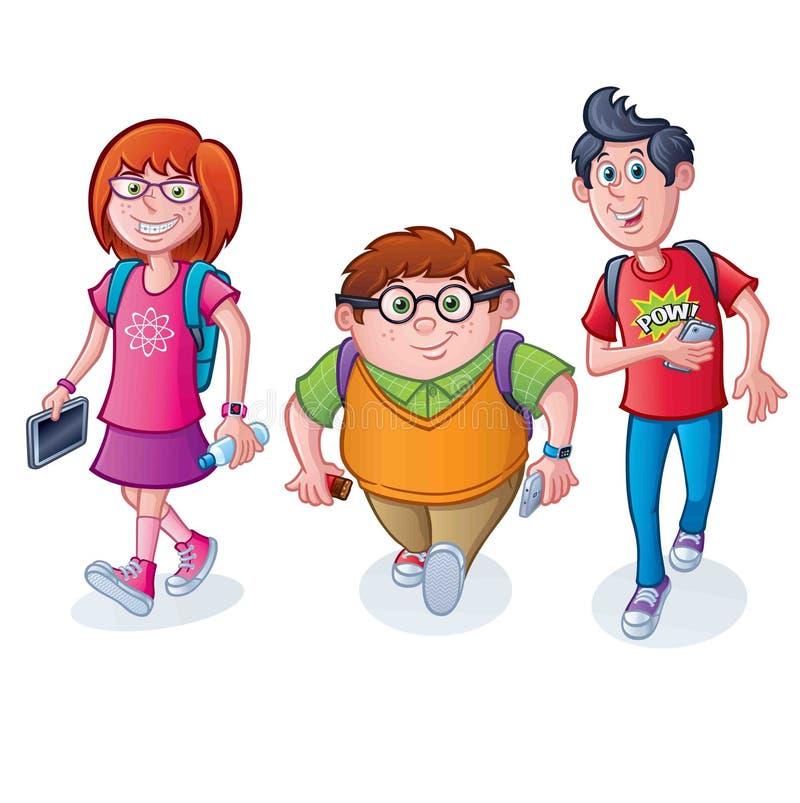 Σχολικά παιδιά Nerdy που περπατούν με τα σακίδια πλάτης απεικόνιση αποθεμάτων