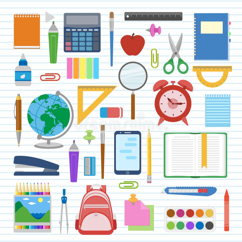 Σχολικά προμήθειες και στοιχεία που τίθενται σε ένα φύλλο σε μια γραμμή Πίσω στο σχολικό εξοπλισμό ελεύθερη απεικόνιση δικαιώματος