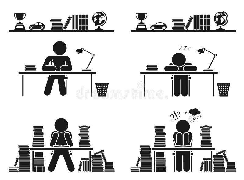 Σχολικές ημέρες Σύνολο εικονιδίων εικονογραμμάτων Παιδιά σχολείου διανυσματική απεικόνιση
